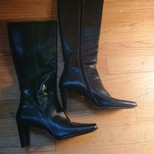 Anne Klein Heeled Leather Boots - Size 7